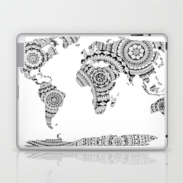 Mandala World Map Laptop IPad Skin By Noshortsupply Society - Mandala map of the world