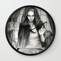 les mis Wall Clocks featuring The Mis-Fortune Teller by L. R. Fitch