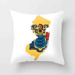 New Jersy Map with State Flag Throw Pillow