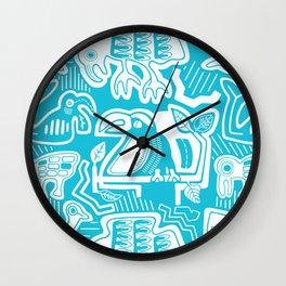 Molas Molas | Tropical Pattern | Blue Wall Clock