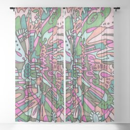 I Found my Friends (Pink/Green) Sheer Curtain