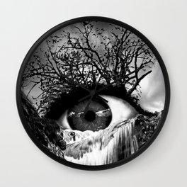 Cascade Crying Eye grayscale Wall Clock