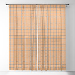 Grid Pattern - blue and orange - more colors Sheer Curtain
