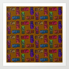 COLORFUL MITTENS ON MUSTARD YELLOW Art Print