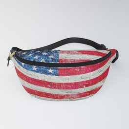 Distressed American Flag On Old Brick Wall - Horizontal Fanny Pack