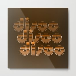 Metallic Seventies Disco Emblem Metal Print
