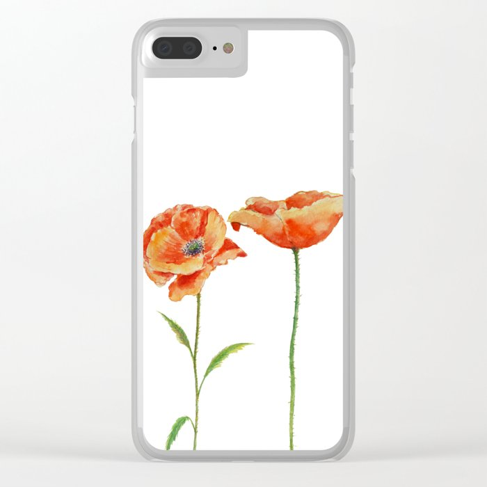 Simply poppy Vintage Watercolor illustration on white background on #Society6 Clear iPhone Case