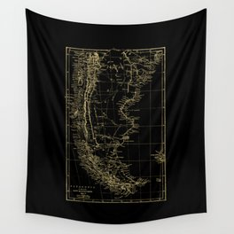 Patagonia - Black and Gold Wall Tapestry