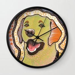 Bella ... Abstract modern pet dog art .. Yellow Labrador Retriever Wall Clock