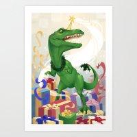 Christmas Unicorn T-Rex Art Print
