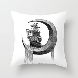 Sailing on the moon Throw Pillow