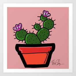 Cute Prickly Potted Cactus Art Print