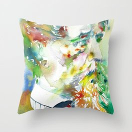 CHARLES DICKENS - watercolor portrait.2 Throw Pillow