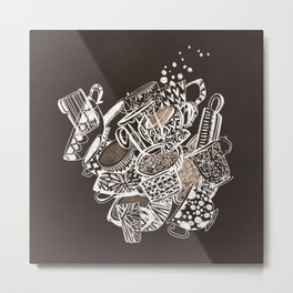 Teacup extravaganzza. Illustration wall art Metal Print