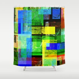 Colorful, multi-layered abstraction. Shower Curtain