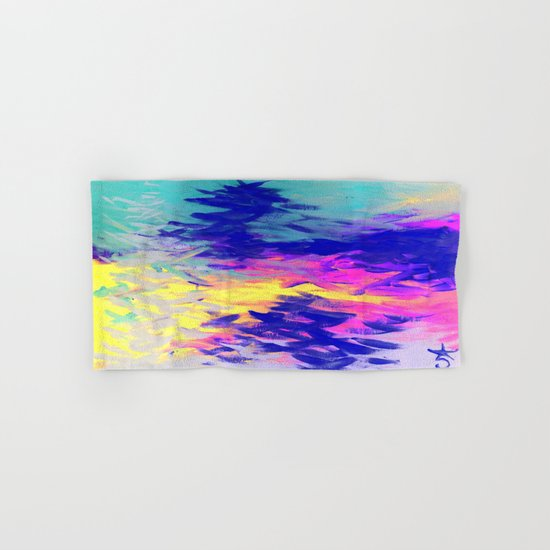 Neon Mimosa Inspired Painting Hand & Bath Towel