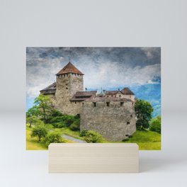 Vaduz Castle Digital Oil Painting Mini Art Print