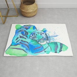 Cuddling Tigers - Tropical Turquoise Rug