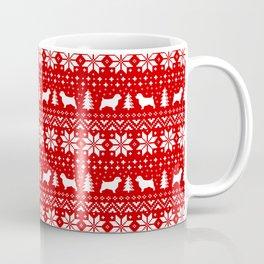 Norfolk Terrier Silhouettes Christmas Sweater Pattern Coffee Mug