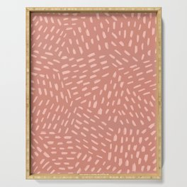 Terracotta pink abstract dashes Serving Tray