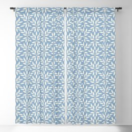 Minimalist Vines Leaves Flowers and Dots Muted Blue and Pale Gray Blackout Curtain