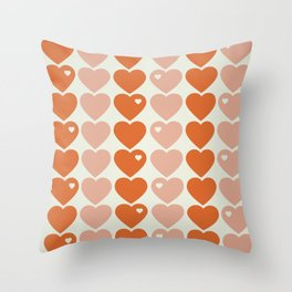 Bubblegum Hearts Throw Pillow