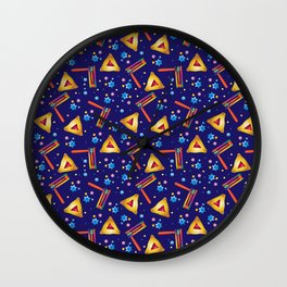 Happy Purim Festival Jewish Holiday Symbols Grogger, hamantaschen cookies, masque, confetti Illustration  Wall Clock