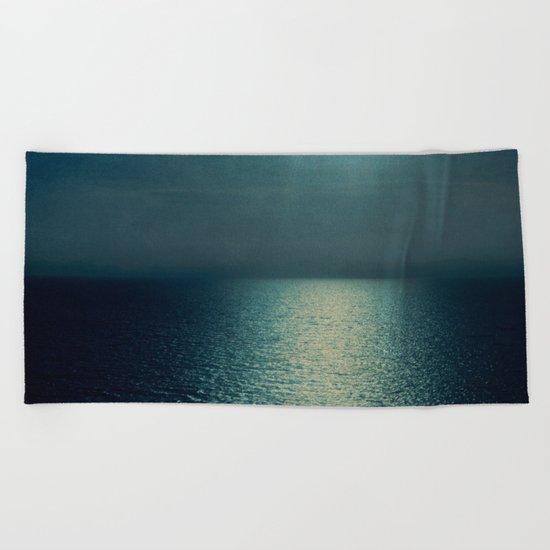sea - sunset blue Beach Towel
