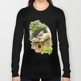 Watercolor Bluebird Art Long Sleeve T-shirt