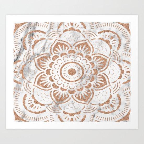 Rose gold marble mandala Art Print