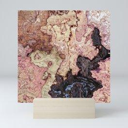 beige pink puce brown graphite marble Mini Art Print