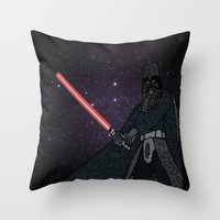 darth vader Throw Pillows featuring Darth Vader  by Rebecca Bear