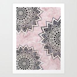 ROSE BOHO NIGHTS MANDALAS Art Print