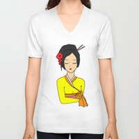 korean V-neck T-shirts featuring Korean Maiden by RaJess