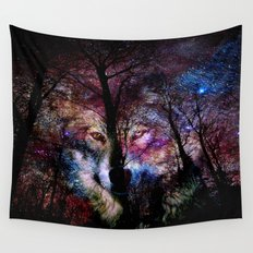 wolf in the forest Wall Tapestry