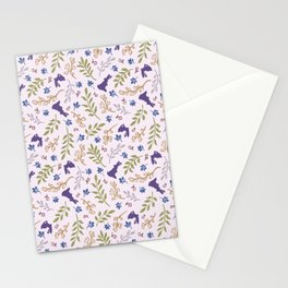 Ditsy Bunnies Amok - Purple Bunnies, Pink Background Stationery Cards