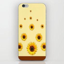 RAINING SUNFLOWERS FLOWERS CREAMY BROWN ART iPhone Skin