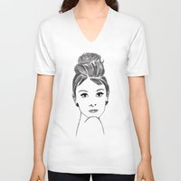 audrey V-neck T-shirts featuring audrey by osvaldo