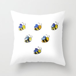Cute little watercolor bees by annmariescreations Throw Pillow
