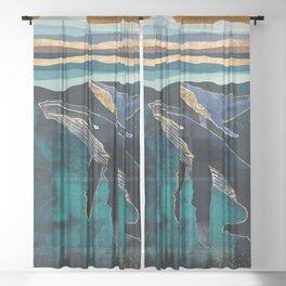 Moonlit Whales Sheer Curtain