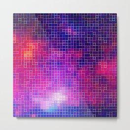 Coloful PixelS Fuchsia Purple Indigo Metal Print