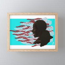 Black woman with braids floral Framed Mini Art Print