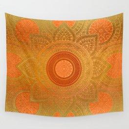 """Savanna Orange-Gold Mandala"" Wall Tapestry"