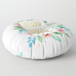 All Good Things are Wild and Free Faux Gold Quote with Flowers Floor Pillow