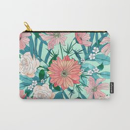 Boho chic spring garden flowers illustration Carry-All Pouch