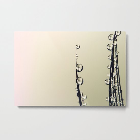 Feather Drops with a Hint of Pink Metal Print