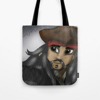 jack sparrow Tote Bags featuring Captain Jack Sparrow by BellaG