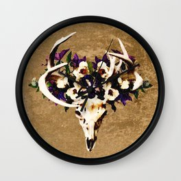 Painted Deer Skull and Flowers with Victorian Background Wall Clock