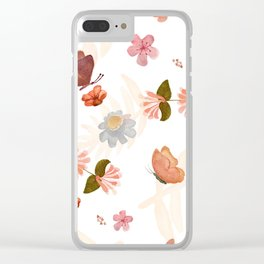 Butterfly & Flowers Clear iPhone Case