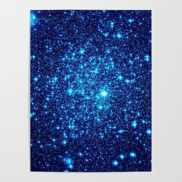 Vivid Blue gALaxY Stars Poster